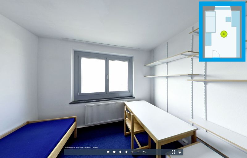 Virtuelle Tour durch ein Einbettzimmer