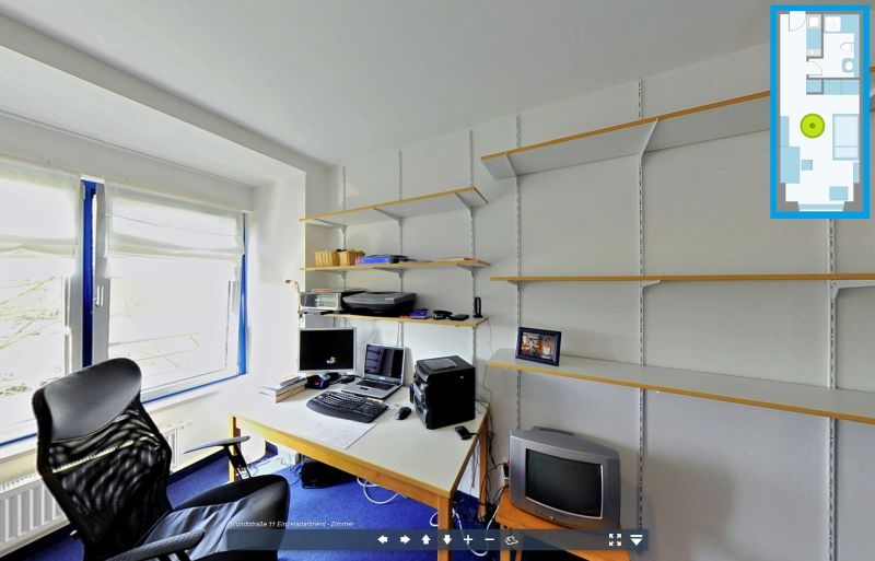 Virtuelle Tour durch ein Einzelapartment